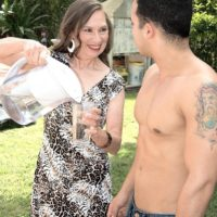 Over Sixty MILF Mona gives a oral sex after seducing a younger stud in her backyard