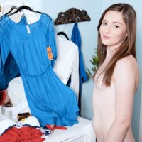 Tiny teenage Emma Ryder stands totally naked while getting switched in her bedroom