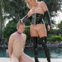 Sadistic sandy-haired mistress Ashley Edmunds demeaning her collared subby hubby