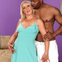 Hot grannie Andi Roxxx has her muff blown out by her youthfull ebony lover