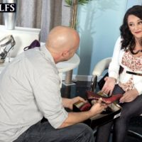 Wonderful aged broad Lexi Ambrose has her bare feet and boobs played with by a salesman
