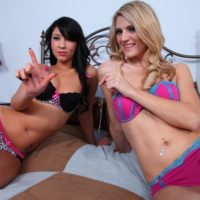 Spindly swimsuit attired chicks Amanda and Esmi Lee torture a penis that is encaged in male chastity implement