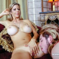 Spindly yellow-haired XXX film starlet Alexis Fawx having barefeet blown by crossdresser in lingerie