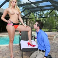 Tall fair-haired wife Vanessa Box has her subby hubby sniff her slit and bootie in high-heeled shoes
