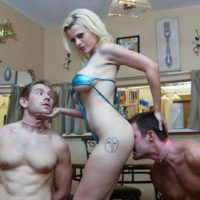 Tatted fair-haired chick Nadia White has her collared male submissives worship her barefeet