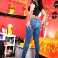 Tatted Latina chick Mary Jean looses her gigantic caboose from jeans and ebony panties