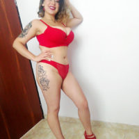 Inked Latina female Sofia Santana looses her large breasts during a POV hand-job