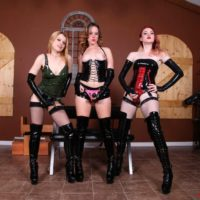 3 authoritative type damsels poke masculine submissives in the mouth and butt with strap-on penises