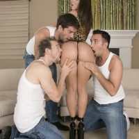 Top pornostar Jada Stevens offers up her sugary-sweet bum for anal sex to three studs at once