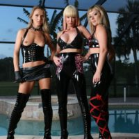 Three yellow-haired dominatrixes model spandex apparel afore a swimming pool