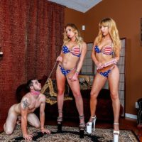 Yellow-haired gf Mickey Tyler and her bathing suit clad gf lead a collared man slave on a leash