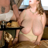Gigantic jugged feeder Sapphire straddles on top her men while having a hefty breakfast in bed