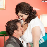 Hefty titted businesslady Beverly Paige tempts a dude in her office place after a panty showcase