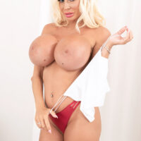 Wondrous blonde Barbie Nicole sets her enhanced breasts free during a solo shoot