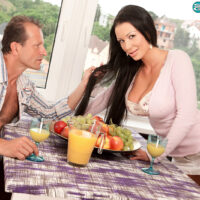 Long-haired MILF Patty Michova has her hefty tits attended to over breaky
