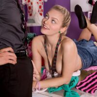 Platinum-blonde nubile Alli Rae bares her enormous all-natural breasts for her tutor with her hair in pigtails