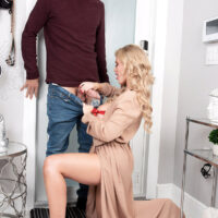 Beguiling light-haired female Casca Akashova seduces her next-door neighbour in a beautiful brassiere and panty set