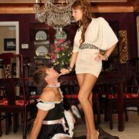 Wondrous girlfriend Alison Star bangs her sissy with a strap on after seeing him suck on a penis