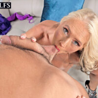 Huge-titted aged blond Maddie Cross has oral and vaginal sex with a large penis in POV mode