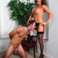 Stocking and high heel garbed wife Allura Sky dominating her collared subby spouse