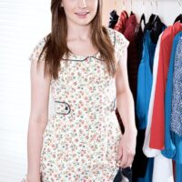 Tiny teener Emma Ryder stands fully nude before getting dressed in her bedroom