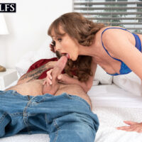 Aged MILF Cyndi Sinclair gets caught masturbating before sex with a young dude