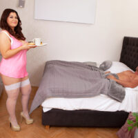 Gigantic boobed fatty Laura Tithapia serves her stud breakfast in bed before they bang