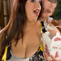 big titted fatty Rikki Waters gives a blow job while chowing down on Asian food