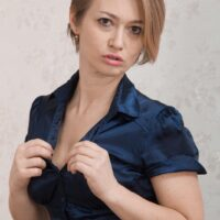 Euro first timer Yulenka Moore touting her hairy honeypot beneath milky-white panties
