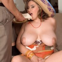 Large boobed Latina fatty Selena Castro eating food while showcasing her melons at the same time